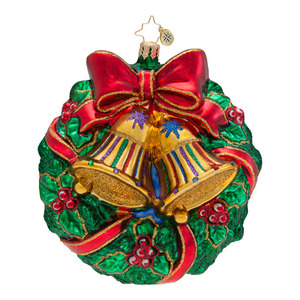 RADKO 1016279 RING IN THE SEASON - WREATH WITH BELLS & BOW ORNAMENT - NEW 2013 (13-13)