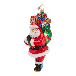 RADKO 1016597 LOADED WITH JOY - OVERSIZED SANTA WITH BAG OF PRESENTS ORNAMENT - NEW 2013 (13-8)