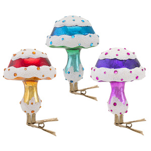 RADKO 1016644 MAGIC MUSHROOMS - PURPLE CLIP ON MUSHROOM ORNAMENT - NEW 2013 (13-10)
