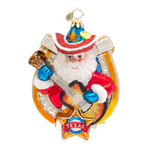 RADKO 1016535 LONESTAR MELODY - TEXAS - SANTA WITH GUITAR ORNAMENT - NEW 2013 (13-5)