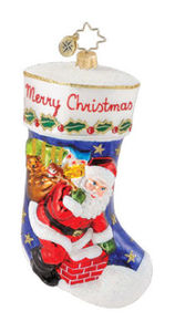 RADKO 1014843 ONE STOP STOCKING - SANTA - RETIRED ORNAMENT (Q3)
