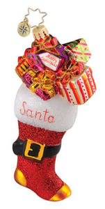 RADKO 1014898 STOCKED FOR SANTA - STOCKING - RETIRED ORNAMENT (Q3)