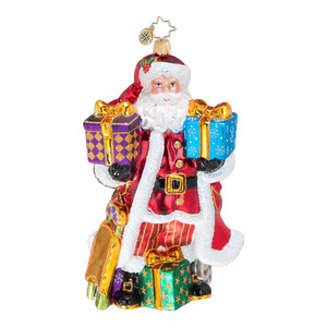 RADKO 3013010 GOOD YEAR FOR CHEER 2015 - STORE EXCLUSIVE - LIMITED EDITION 72 - DATED SANTA WITH GIFTS & SLED ORNAMENT - NEW 2015 (15-2)