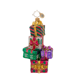 RADKO 1016837 GONE GIFTIN' - STACK OF PRESENTS ORNAMENT - NEW 2013 (13-16)