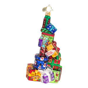 RADKO 1016576 TOWER OF TREASURES - STACK OF GIFTS ORNAMENT - NEW 2013 (13-7)
