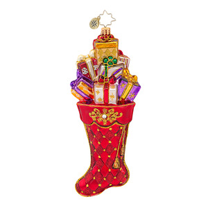 RADKO 1016609 SCARLET SPLENDOR - RED JEWELED STROCKING WITH GIFTS ORNAMENT - NEW 2013 (13-8)