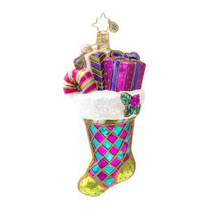 RADKO 1016948 BRIGHT TIDINGS - HARLEQUIN STOCKING WITH GIFTS ORNAMENT - NEW 2013 (13-19)