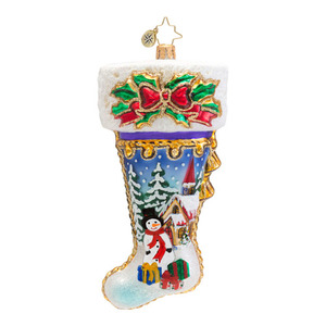 RADKO 1016636 A WINTER MOMENT - STOCKING WITH WINTER SCENE ORNAMENT - NEW 2013 (13-9)