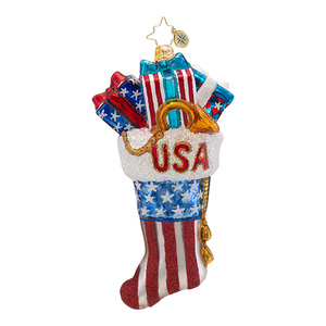RADKO 1016724 RED, WRAPPED AND BLUE - PATRIOTIC STOCKING WITH GIFTS ORNAMENT - NEW 2013 (13-13)