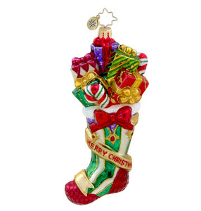 RADKO 1015489 OVER STUFFED STOCKING - MERRY CHRISTMAS STOCKING WITH GIFTS - NEW 2011 (11-16)