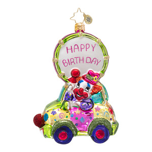 RADKO 1016562 BEEP BEEP BIRTHDAY - CLOWN CAR - HAPPY BIRTHDAY ORNAMENT - NEW 2013 (13-7)
