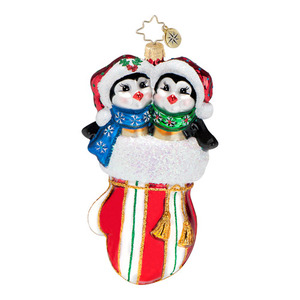 RADKO 1016578 SMITTEN IN A MITTEN - 2 PENGUINS IN A MITTEN ORNAMENT - NEW 2013 (13-7)