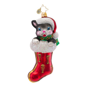 RADKO 1016631 CHRISTMAS KITTY - CAT IN STOCKING ORNAMENT - NEW 2013 (13-9)