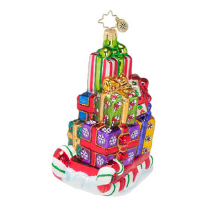 RADKO 1016692 PEPPERMINT FLYER - CANDY SLEIGH WITH PRESENTS ORNAMENT - NEW 2013 (13-11)