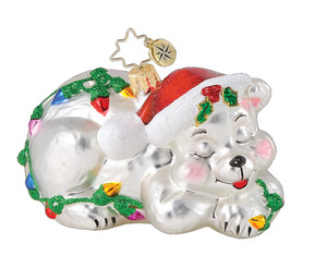 RADKO 1014960 BEARLY ASLEEP - SLEEPING BEAR WITH LIGHTS ORNAMENT - RETIRED (Q10)