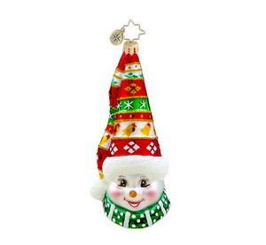RADKO 1015642 HOLIDAY HAT HOOPLA - SNOWMAN WITH FESTIVE HAT ORNAMENT - NEW 2011 (11-13)