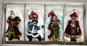 RADKO THE LIGHT BRIGADE - SANTA - SNOWMAN - NUTCRACKER - ANGEL - STARLIGHT STORE EXCLUSIVE ORNAMENT SET - RETIRED FROM 2005 - 20TH ANNIVERSARY