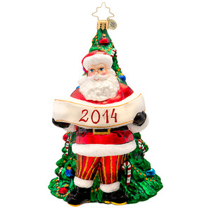 RADKO 1017134 YEARLY MAGIC - DATED 2014 - SANTA IN FRONT OF TREE ORNAMENT - NEW 2014 (14-2)