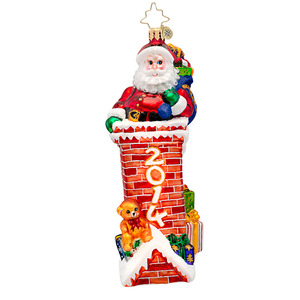 RADKO 1017167 TIGHT FIT - DATED 2014 - SANTA IN CHIMNEY ORNAMENT - NEW 2014 (14-2)