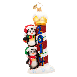 RADKO 1017382 A YEARLY PLAYFUL PAL - DATED 2014 - 2 PENGUINS ORNAMENT - NEW 2014 (14-2)