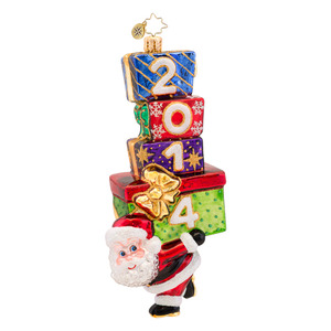 RADKO 1017479 CARRY IN THE YEAR - DATED 2014 - SANTA WITH STACK OF GIFTS ORNAMENT - NEW 2014 (14-2)