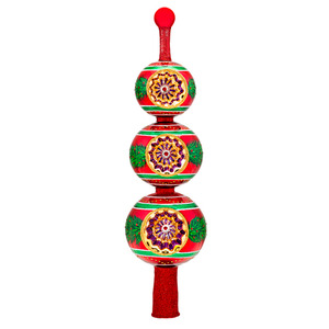 RADKO 1017287 CHRISTMAS TREASURE FINIAL - RED AND GREEN TRIPLE BALLS WITH REFLECTORS - RETIRED TREE TOPPER - NEW 2014 (F5)