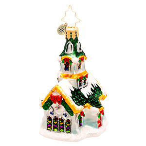 RADKO 1017206 STAINED GLASS STUNNER GEM - SNOW COVERED CHURCH ORNAMENT - NEW 2014 (22)