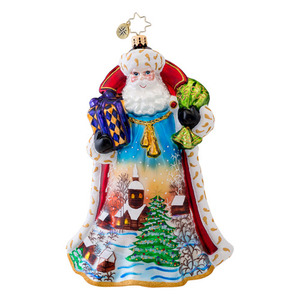 RADKO 1017034 MIDNIGHT SKY - LIMITED EDITION OF 850 - SANTA WITH PAINTED SCENE ORNAMENT - NEW 2013 (14-2)