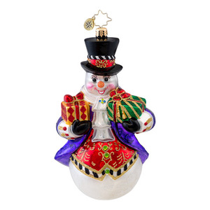 RADKO 1017035 ELEGANT ALAN - FANCY SNOWMAN WITH GIFTS ORNAMENT - NEW 2014 (14-3)