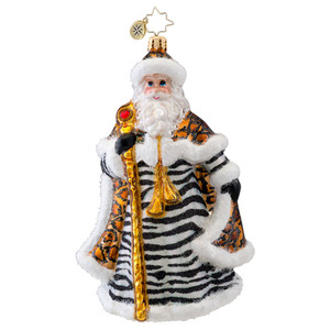 RADKO 1017039 DESIGNER CLAUS - SANTA WITH ZEBRA & LEOPARD COAT ORNAMENT - NEW 2014 (14-3)