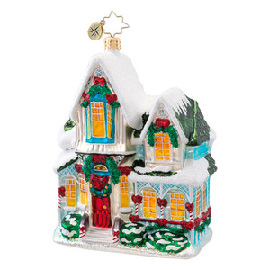 RADKO 1017041 WARM FOR THE HOLIDAYS - SNOW COVERED HOUSE ORNAMENT - NEW 2014 (14-3)