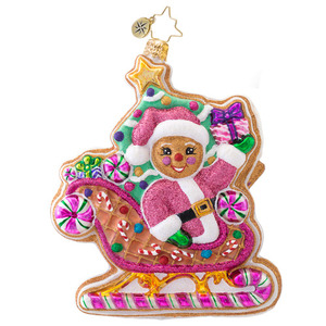 RADKO 1017043 DASHING THROUGH THE ICING - GINGERBREAD MAN IN CANDY SLEIGH ORNAMENT - NEW 2014 (14-3)
