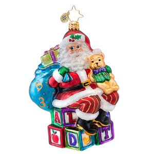 RADKO 1017048 ABC SANTA - SANTA WITH TEDDY BEAR ORNAMENT - NEW 2014 (14-3)