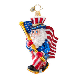 RADKO 1017053 RED WHITE AND YULE - PATRIOTIC SANTA WITH FLAG ORNAMENT - NEW 2014 (14-3)
