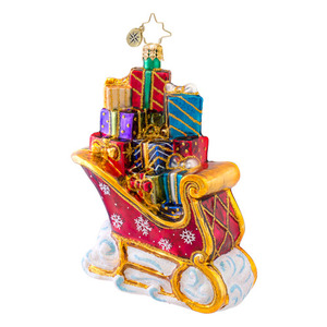 RADKO 1017066 LOADED WITH CHEER - SLEIGH FULL OF GIFTS ORNAMENT - NEW 2014 (14-4)