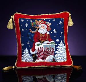 RADKO 2011984 ROOFTOP SANTA NEEDLEPOINT PILLOW - 14