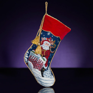 RADKO 2012003 ROOFTOP SANTA NEEDLEPOINT STOCKING - 20