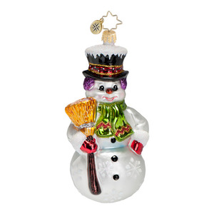RADKO 1016795 SNOWMAN SWEPT - SNOWMAN WITH BROOM ORNAMENT - NEW 2013 (13-14)