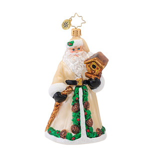 RADKO 1016847 FOREST FATHER - SANTA WITH BIRD HOUSE ORNAMENT - NEW 2013 (13-16)