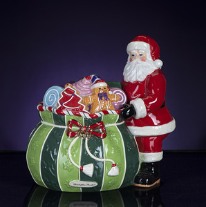 RADKO 2011970 SPLENDID SANTA CANDY JAR - SANTA WITH BAG - NEW FOR 2013
