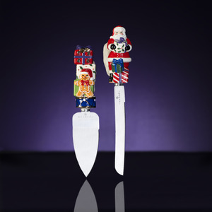 RADKO 2011973 SPLENDID SANTA SERVING SET - KNIFE & SERVER - NEW FOR 2013