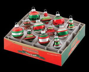 RADKO 4024215 SHINY BRITE - MINI VINTAGE YEARS SILVER BELLS, TOPS, & TREES - ASST 12 - NEW FOR 2010