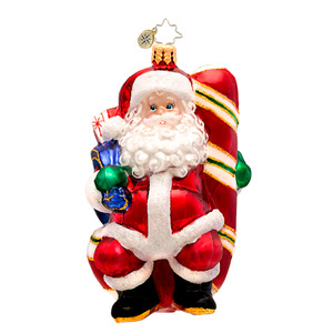 RADKO 1017274 CANDY SWING DELIGHT - SANTA SITTING ON CANDY CANE ORNAMENT - NEW 2014 (14-9)