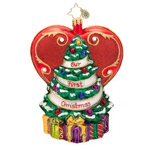 RADKO 1017439 A TREE FROM THE HEART - OUR FIRST CHRISTMAS - HEART AND TREE ORNAMENT - NEW 2014 (14-13)