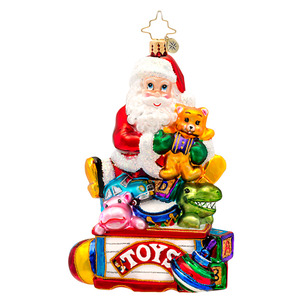 RADKO 1017153 TOYS FOR ALL - SANTA WITH TOYS ON TOYBOX - CHILDREN'S ORNAMENT - NEW 2014 (14-6)