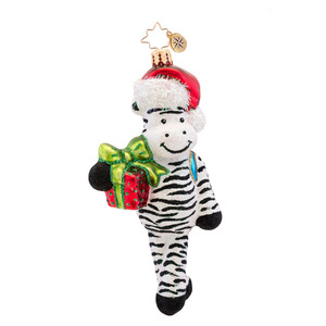 RADKO 1017316 ZACK ZEBRA - ZEBRA WITH STOCKING CAP AND GIFT - CHILDREN'S ORNAMENT - NEW 2014 (14-10)