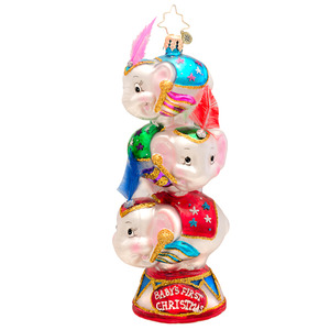 RADKO 1017161 CIRCUS STAR TRIO - BABY'S FIRST CHRISTMAS - 3 ELEPHANTS ORNAMENT - NEW 2014 (14-6)