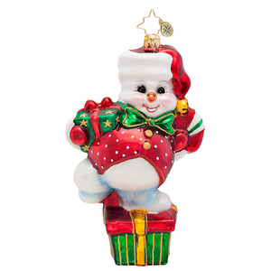 RADKO 1017447 DRIFTY DANCER - SNOWMAN ON GIFT WITH RED VEST - NEW 2014 (14-14)