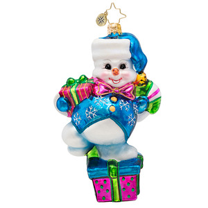 RADKO 1017447 DRIFTY DANCER - SNOWMAN ON GIFT WITH BLUE VEST - NEW 2014 (14-14)