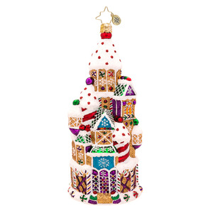 RADKO 1017194 CANDY CHATEAU - GINGERBREAD AND CANDY CASTLE ORNAMENT - NEW 2014 (14-7)